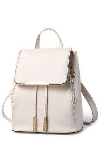 Fancy Preppy Cover and Solid Color Design Satchel For Women - OFF-WHITE  Mobile