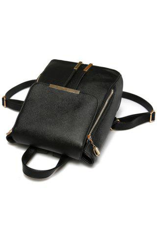 Latest Preppy Cover and Solid Color Design Satchel For Women - BLACK  Mobile