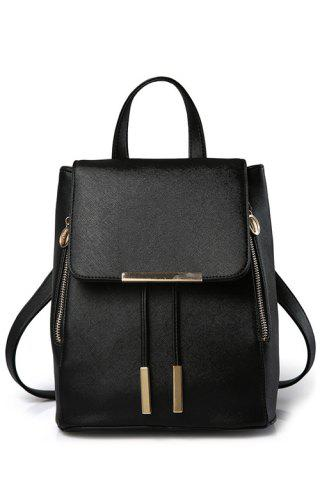 Trendy Preppy Cover and Solid Color Design Satchel For Women BLACK