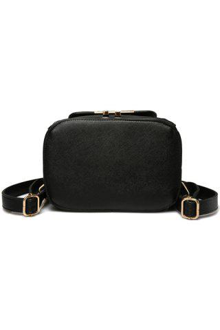 Affordable Preppy Cover and Solid Color Design Satchel For Women - BLACK  Mobile