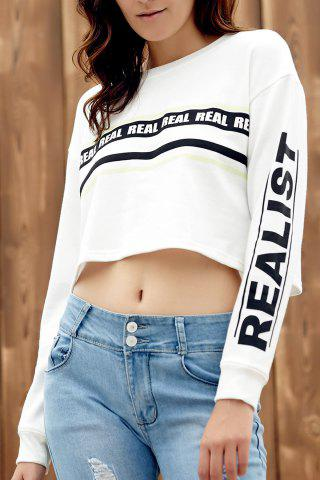 Unique Round Collar Long Sleeve Printed Cropped Sweatshirt WHITE XL