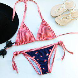 Alluring Striped Halter Bikini Set For Women