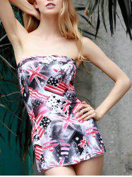Trendy Strapless Sleeveless Star Print Striped Slimming Mini Dress For Women