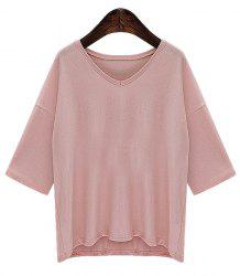Trendy Half Sleeves V-Neck Solid Color Women's T-Shirt -