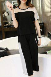Stylish Short Sleeves Color Block T-Shirt + Paggy Capri Pants Women's Twinset - WHITE AND BLACK
