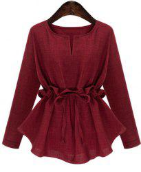 Fashionable Long Sleeves Ruffled Design Asymmetric Hem Women's Blouse