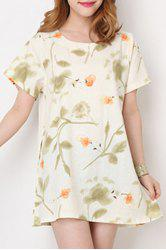 Fresh Style Round Collar Short Sleeve Floral Print Loose Mini Dress For Women -