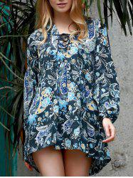 Stylish V-Neck Long Sleeve Paisley Asymmetrical Dress For Women -