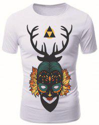 3D Mask Girl Print Round Neck Short Sleeve T-Shirt For Men -