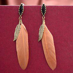 Pair of Chic Faux Gem Leaf Feather Drop Earrings For Women
