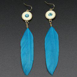 Fake Gem Feather Drop Earrings - BLUE