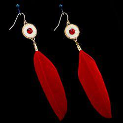 Fake Gem Feather Drop Earrings