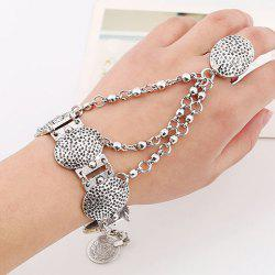 Coin Carving Oval Charm Bracelet with Ring - SILVER