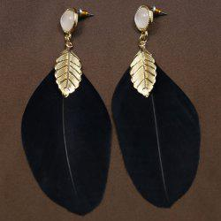 Pair of Chic Leaf Feather Drop Earrings For Women -