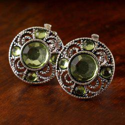 Pair of Chic Artificial Gem Hollow Out Clip Earrings For Women