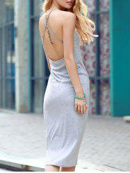 Elegant Gray Open Back Club Criss-Cross Sheath Dress