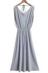 Casual Gray Sleeveless Elastic Waist Pleated Backless Maxi Dress For Women -