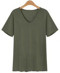 Stylish V-Neck Short Sleeve Loose-Fitting T-Shirt For Women