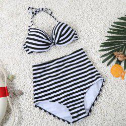 Simple Halter Striped Design High-Waisted Bikini Set For Women