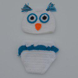Chic Quality Newborn Wool Knitting Owl Design Baby Costume Hat + Shorts Costumes - Blanc