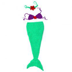 Mermaid Tail Shape Hand Knitted Newborn Baby Blankets Costume Outfit - GREEN