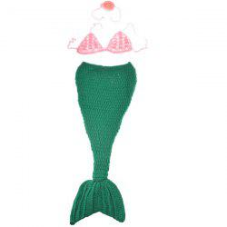 Qualité Chic Main Knitting Cartoon Mermaid Forme Trois-Piece Bébé Costume Set - Rose + Vert