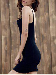 Mini Low Back Slip Club Dress - BLACK