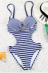 Brief Spaghetti Strap Stripe Design One-Piece Swimwear For Women