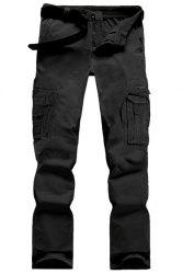 Casual Solid Color Multi-Pocket Straight Zipper Fly Straight Leg Cargo Pants For Men - BLACK