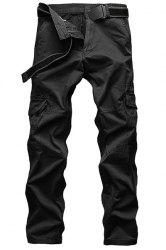 Laconic Straight Leg Multi-Pocket Solid Color Zipper Fly Cargo Pants For Men -