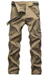 Laconic Straight Leg Multi-Pocket Solid Color Zipper Fly Cargo Pants For Men