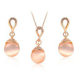 A Suit of Gorgeous Rhinestone Faux Opal Necklace and Earrings For Women -