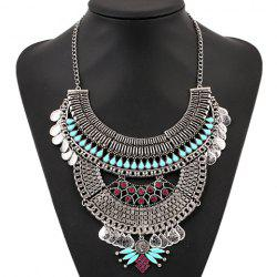 Chic Artificial Gem Water Drop Carving Necklace For Women