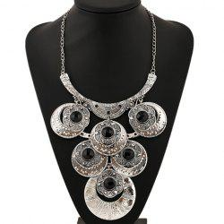 Artificial Gem Flowers Round Necklace