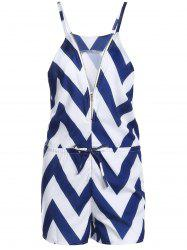 Women's Stylish V-Neck Zig Zag Sleeveless Romper -