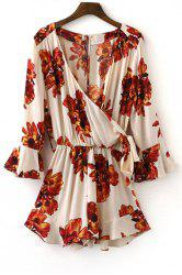 Tie Side Floral Romper with Sleeves -