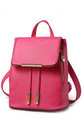 Preppy Cover and Solid Color Design Satchel For Women - ROSE
