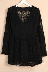 Stylish V-Neck Bell Sleeve Women's Lace Dress