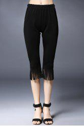 Trendy Solid Color Tassels Spliced Capri Pants For Women