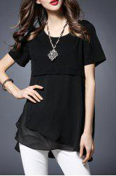 Stylish Round Collar Short Sleeve Chiffon Spliced T-Shirt For Women