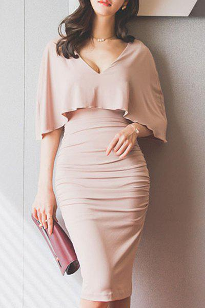Fashion Stylish Plunging Neck Ruched Bodycon Cape Dress For Women