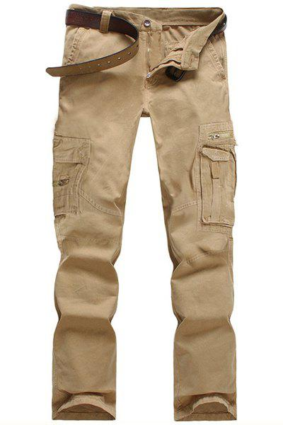 Unique Casual Solid Color Multi-Pocket Straight Zipper Fly Straight Leg Cargo Pants For Men