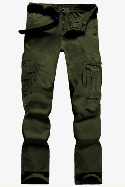 New Casual Solid Color Multi-Pocket Straight Zipper Fly Straight Leg Cargo Pants For Men