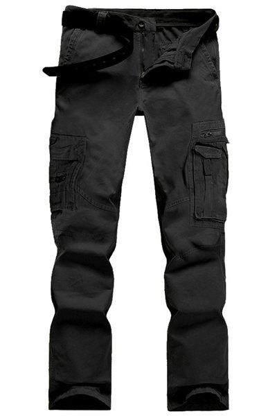 Affordable Casual Solid Color Multi-Pocket Straight Zipper Fly Straight Leg Cargo Pants For Men