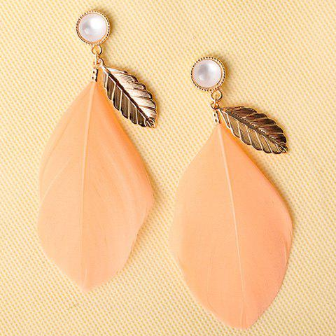 Pair of Chic Leaf Feather Drop Earrings For WomenJEWELRY<br><br>Color: PINK; Earring Type: Drop Earrings; Gender: For Women; Style: Trendy; Shape/Pattern: Feather; Weight: 0.029kg; Package Contents: 1 x Earring (Pair);