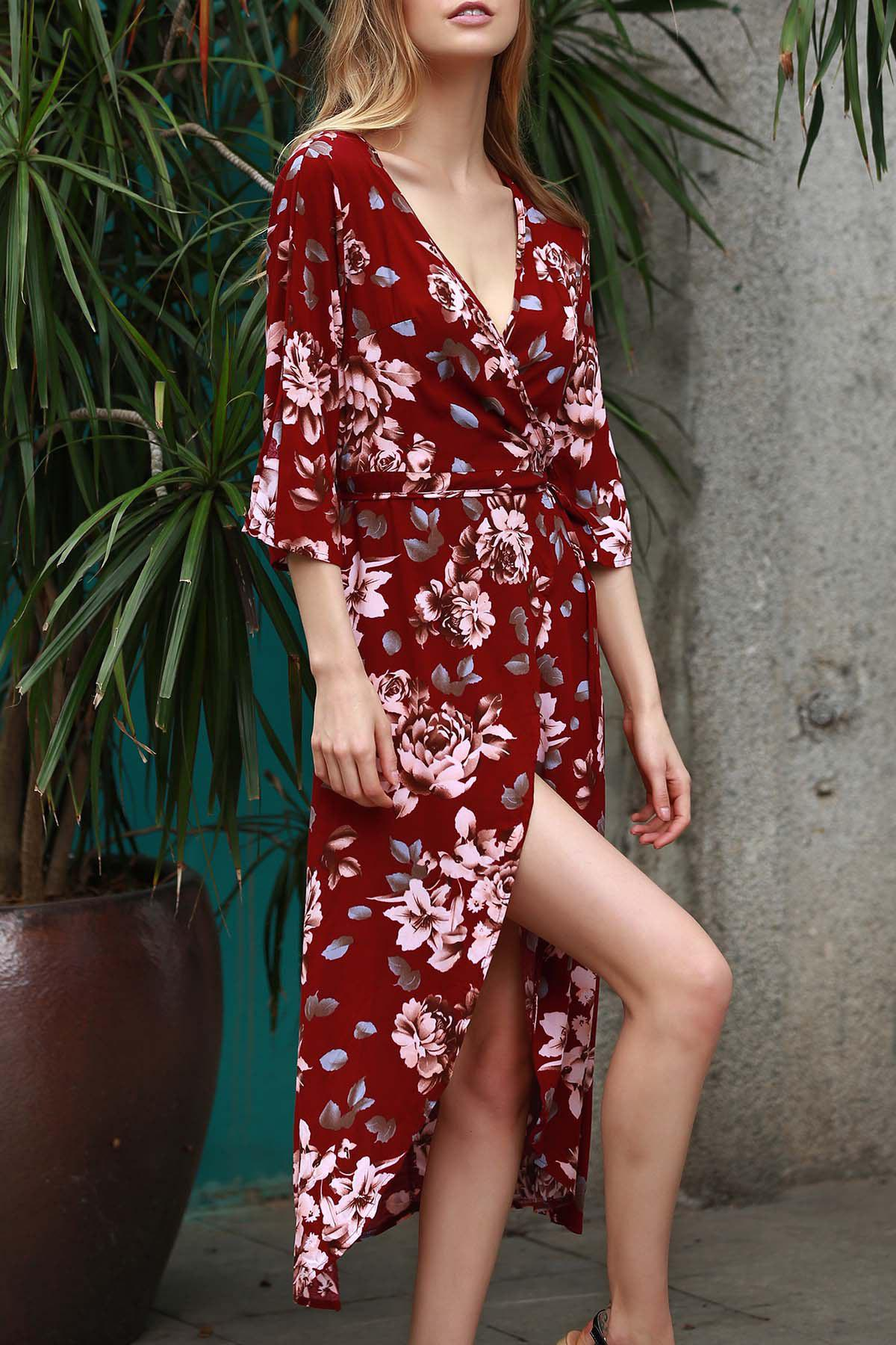 Unique Plunging Neck 3/4 Sleeve Floral Print Women's Dress