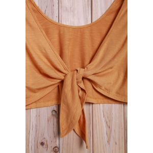 Tie Front Cropped Tank Top -