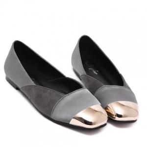 Simple Splicing and Metal Toe Design Flat Shoes For Women - GRAY 36