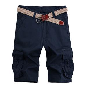Solid Color Stereo Patch Pocket Straight Leg Zipper Fly Cargo Shorts For Men - Purplish Blue - 33