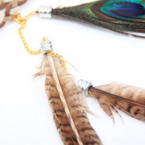 Chic Bohemian Style Peacock Feather Pendant Bead Lace-Up Headband For Women -